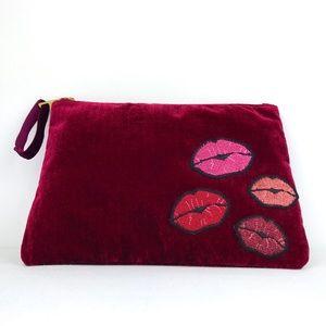 Kiss Maroon Velvet Makeup Bag Clutch Lips Purse
